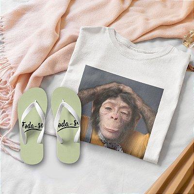 Combo Macaco: T-shirt Branca + Chinelo de dedo