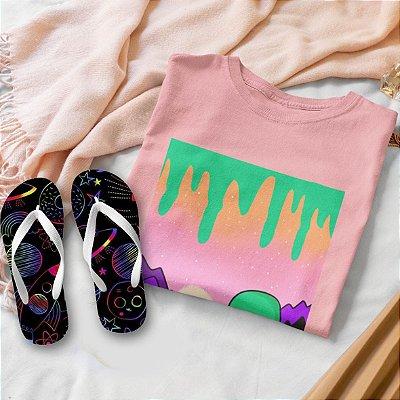 Combo Alien:  T-shirt Rosa + Chinelo de dedo