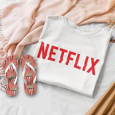 Combo Netflix:  T-shirt Branca + Chinelo de dedo