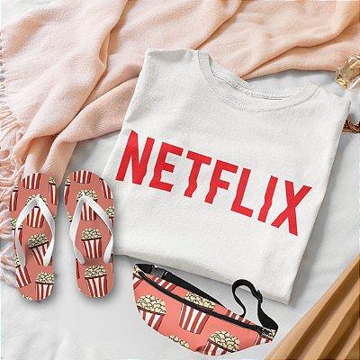 Combo Netflix: T-shirt Branca + Chinelo de dedo + Pochete