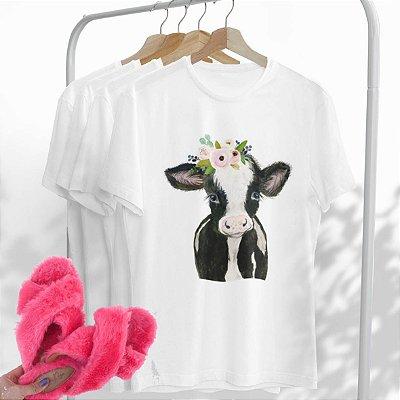 Combo Vaca: Uma T-shirt Branca + Chinelo peluciado Pink