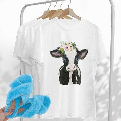Combo Vaca: Uma T-shirt Branca + Chinelo peluciado Azul