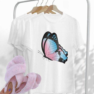 Combo Borboleta: Uma T-shirt Branca + Chinelo peluciado Rosa