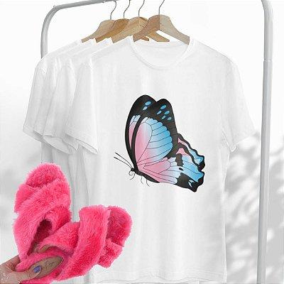 Combo Borboleta: Uma T-shirt Branca + Chinelo peluciado Pink