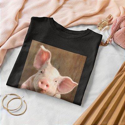 T-Shirt Preta Porco