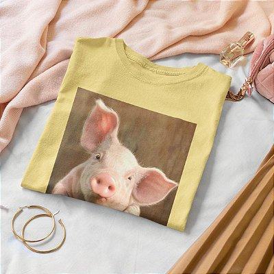 T-Shirt Amarela Porco