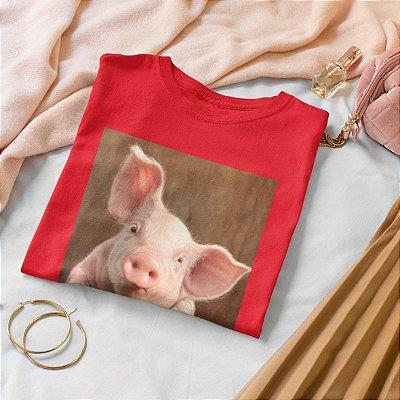 T-Shirt Vermelha Porco