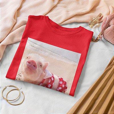 Camiseta Vermelha Porco