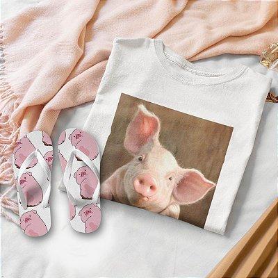 Combo Porco: T-shirt Branca + Chinelo de dedo