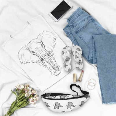 Combo Elefante: T-shirt + Chinelo + Pochete