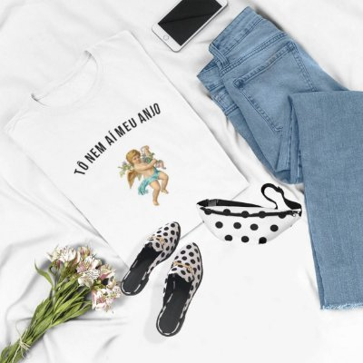 Combo Tshirt Branca + Mule Poá + Pochete