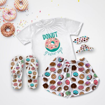 Conjunto Pijama Donuts + Chinelo de dedo