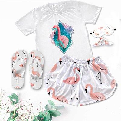 Conjunto Pijama Flamingo + Chinelo de dedo
