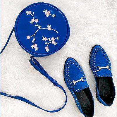 Bolsa Redonda Azul Fashion Floral