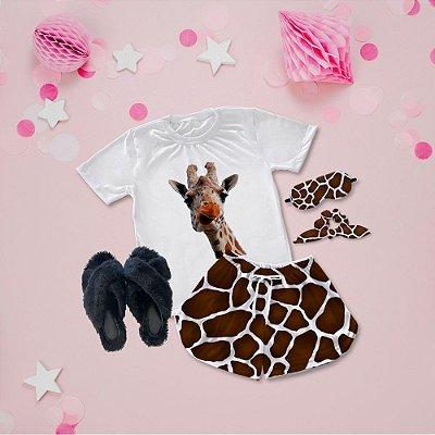 Conjunto Pijama Girafa + Chinelinho Peluciado