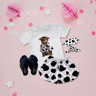 Conjunto Pijama Gato de Vaca + Chinelinho Peluciado