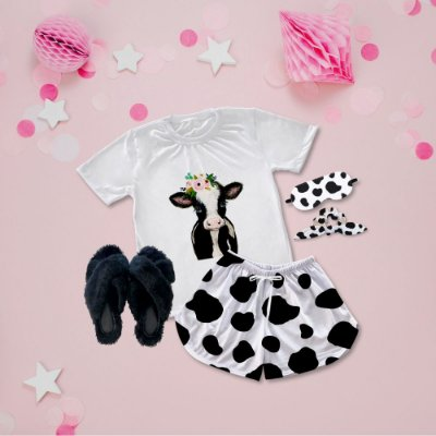 Conjunto Pijama Vaca + Chinelinho Peluciado