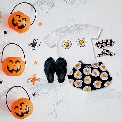 Conjunto Pijama Ovo Frito + Chinelinho Peluciado