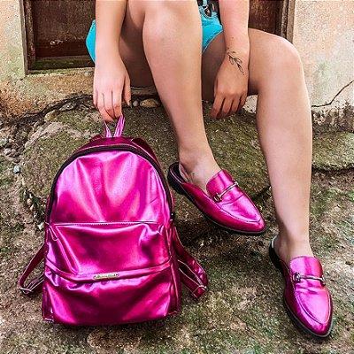 Combo: Mule Metalizado Pink + Mochila