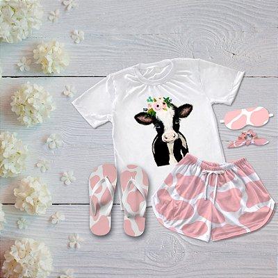 Conjunto Pijama Vaca Rosa + Chinelo de dedo