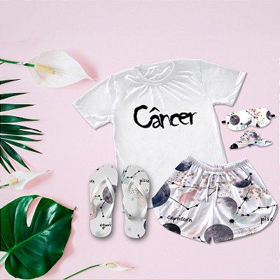 Conjunto Pijama Câncer + Chinelo de dedo