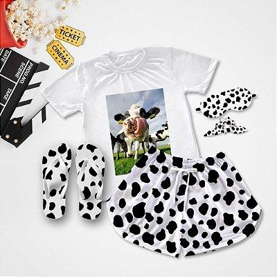 Conjunto Pijama Vaca Língua + Chinelo de dedo
