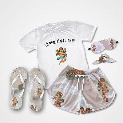 Conjunto Pijama To nem aí meu ANJO + Chinelo de dedo