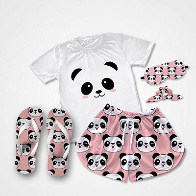 Conjunto Pijama Panda Rosa + Chinelo de dedo