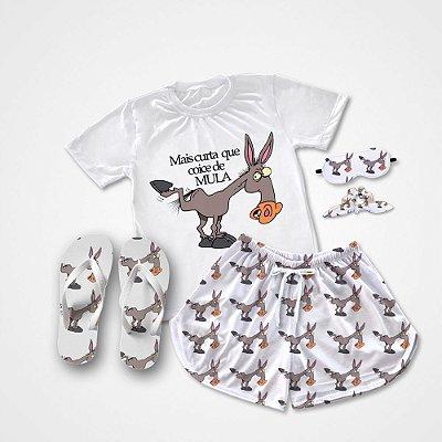 Conjunto Pijama Mais curta que coice de mula + Chinelo de dedo