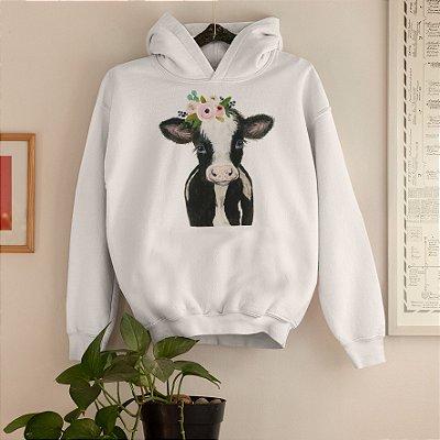 Moletom Capuz Branco Vaca Desenho