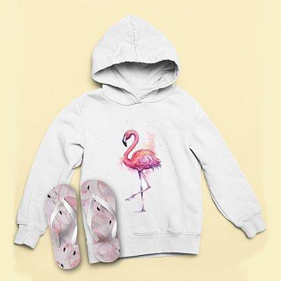Combo Moletom Capuz + Chinelo: Flamingo