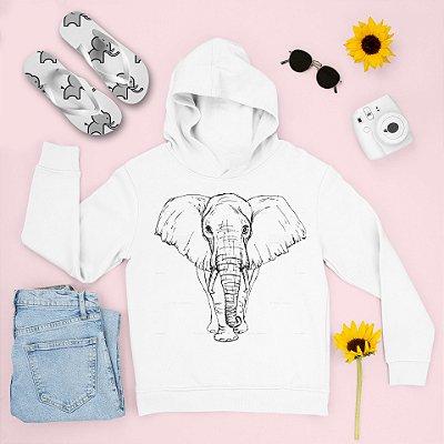Combo Moletom Capuz + Chinelo: Elefante