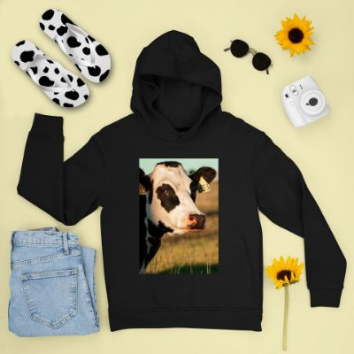 Combo Moletom Preto Capuz + Chinelo: Vaca Brinco