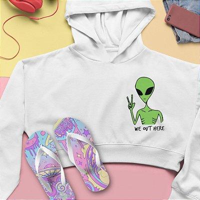 Combo Cropped Moletom Capuz + Chinelo: Alien
