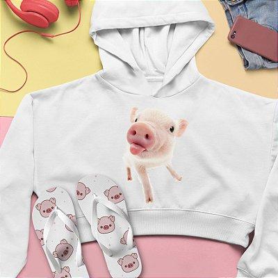 Combo Cropped Moletom Capuz + Chinelo: Porco