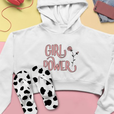 Combo Cropped Moletom Capuz + Chinelo: Girl Power