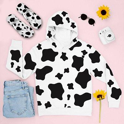 Combo Moletom Capuz Estampa Vaca + Chinelo: Vaca
