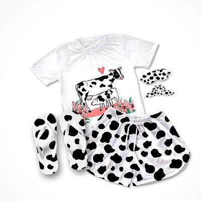 Conjunto Pijama Vaca com Bezerro + Chinelo de dedo