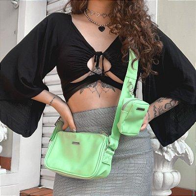 Bolsa Baguete Verde Com Bolsinha de Brinde