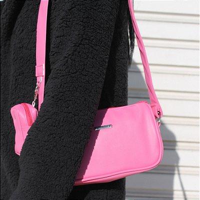 Bolsa Baguete Pink Com Bolsinha de Brinde