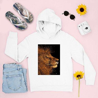 Combo Moletom Branco Capuz + Chinelo: Leão