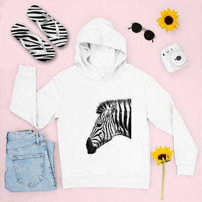 Combo Moletom Branco Capuz + Chinelo: Zebra