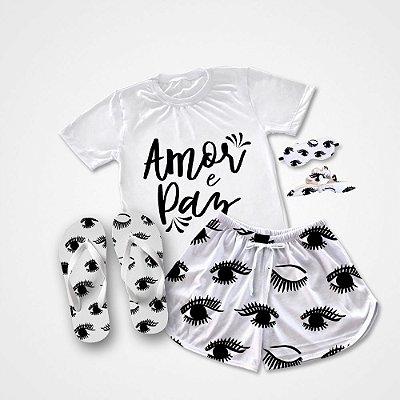 Conjunto Pijama Amor e Paz +  Chinelo de dedo