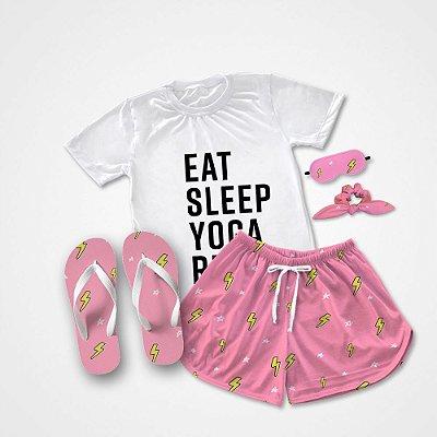 Conjunto Pijama Eat Sleep +  Chinelo de dedo