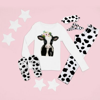 Conjunto Pijama Longo Vaca Desenho + Chinelo de dedo