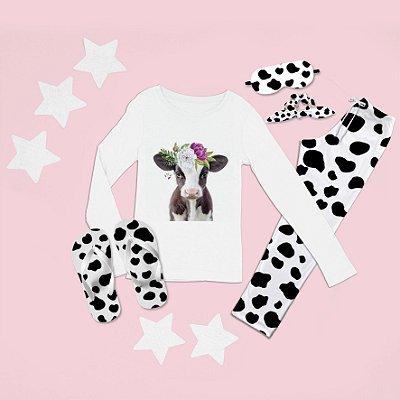 Conjunto Pijama Longo Vaca Coroa de Flor + Chinelo de dedo