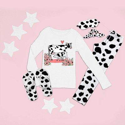 Conjunto Pijama Longo Vaca Bezerro + Chinelo de dedo