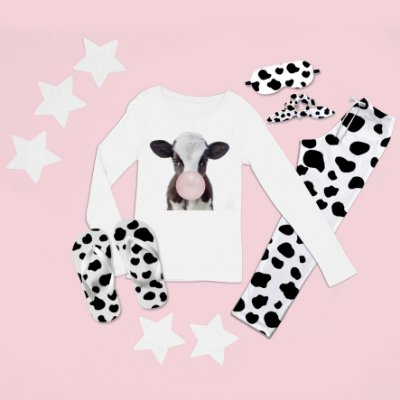 Conjunto Pijama Longo Vaca Babalu + Chinelo de dedo