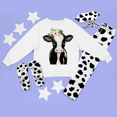 Conjunto Moletom peluciado Vaca Desenho + Calça Pijama + Chinelo de dedo