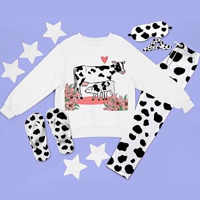 Conjunto Moletom peluciado Vaca e Bezerro + Calça Pijama + Chinelo de dedo